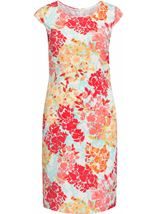Anna Rose Fitted Shantung Midi Dress Deep Coral/Multi - Gallery Image 1
