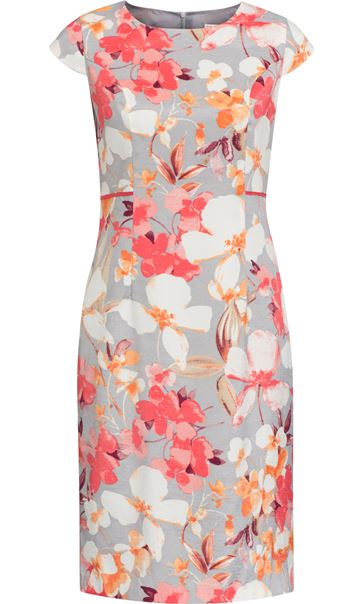 Anna Rose Fitted Floral Shantung Midi Dress Deep Coral/Multi