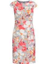Anna Rose Fitted Floral Shantung Midi Dress Deep Coral/Multi - Gallery Image 1