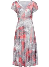 Anna Rose Short Sleeve Fit And Flare Midi Dress Coral/Grey - Gallery Image 1