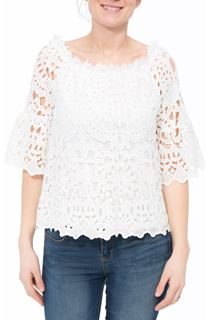Lace Three Quarter Sleeve Bardot Top