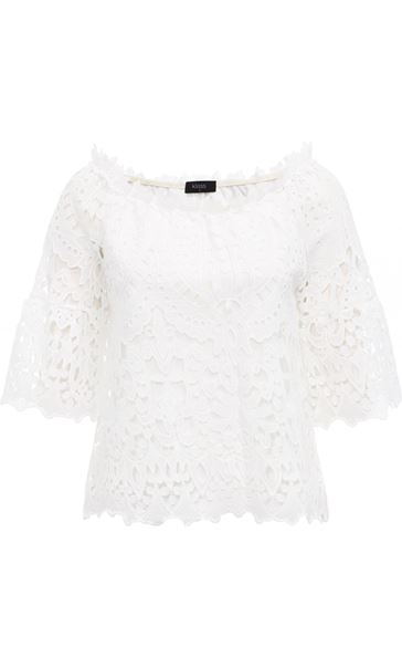 Lace Three Quarter Sleeve Bardot Top Ivory