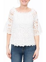 Lace Three Quarter Sleeve Bardot Top Ivory - Gallery Image 2