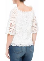 Lace Three Quarter Sleeve Bardot Top Ivory - Gallery Image 3