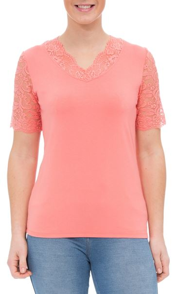 Anna Rose Lace Trim Jersey Top Coral - Gallery Image 2