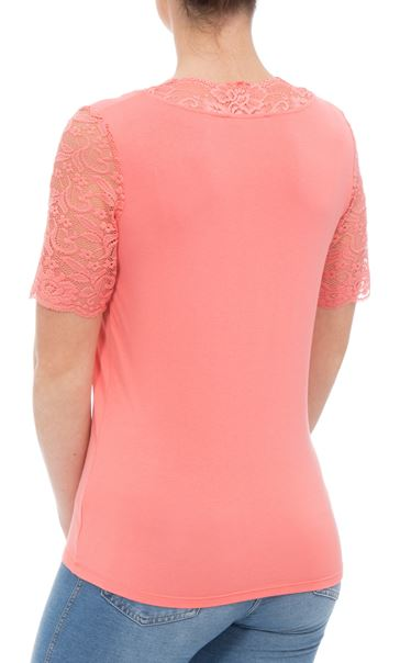 Anna Rose Lace Trim Jersey Top Coral - Gallery Image 3