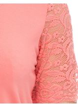 Anna Rose Lace Trim Jersey Top Coral - Gallery Image 4