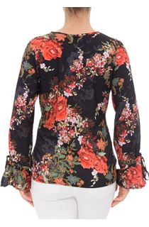 In Bloom Printed Tie Sleeve Top
