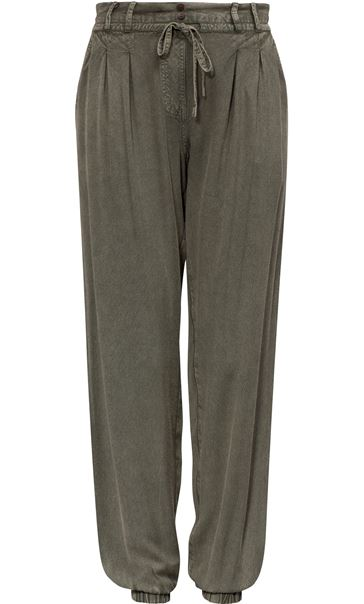 Elasticated Cuff Loose Fitting Embroidered Trousers Khaki