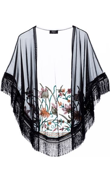 Embroidered Mesh Tassel Cover Up Black/Multi