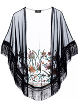 Embroidered Mesh Tassel Cover Up Black/Multi - Gallery Image 1