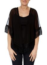 Embroidered Mesh Tassel Cover Up Black/Multi - Gallery Image 2