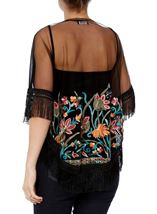 Embroidered Mesh Tassel Cover Up Black/Multi - Gallery Image 3