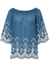 Embroidered Cotton Top Grey Chambray - Gallery Image 1