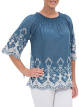 Embroidered Cotton Top Grey Chambray - Gallery Image 2