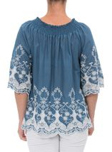 Embroidered Cotton Top Grey Chambray - Gallery Image 3