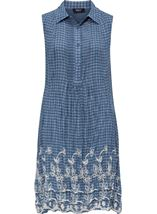 Embroidered Sleeveless Stripe Tunic Chambray Blue/White - Gallery Image 1