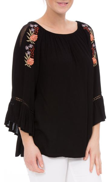 Embroidered Boho Loose Fit Top Black
