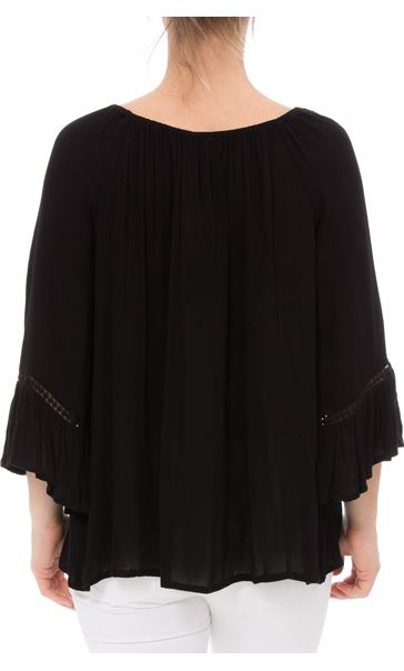 Embroidered Boho Loose Fit Top Black - Gallery Image 2