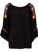 Embroidered Boho Loose Fit Top Black - Gallery Image 3