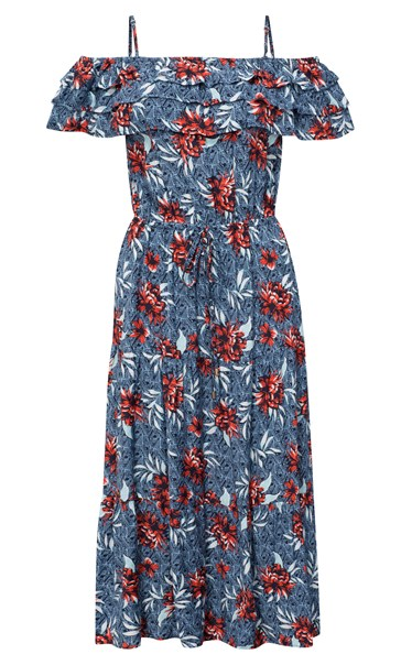Cold Shoulder Floral Printed Midi Dress Multi Airforce