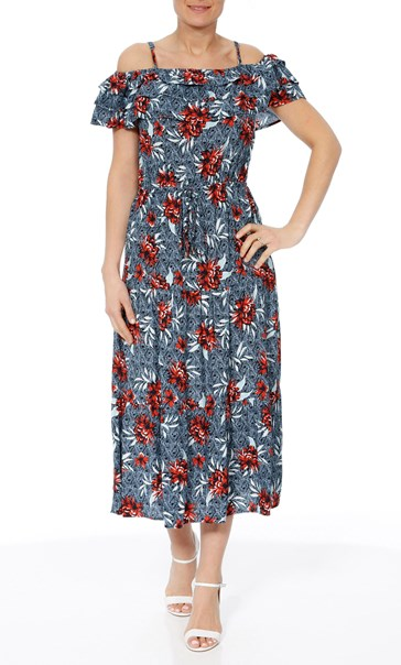 Cold Shoulder Floral Printed Midi Dress Multi Airforce - Gallery Image 2