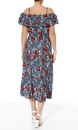 Cold Shoulder Floral Printed Midi Dress Multi Airforce - Gallery Image 3
