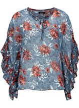 Floral Printed Frill Sleeve Georgette Top