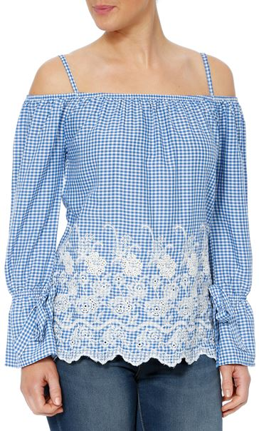 Cold Shoulder Gingham Embroidered Top Blue/White