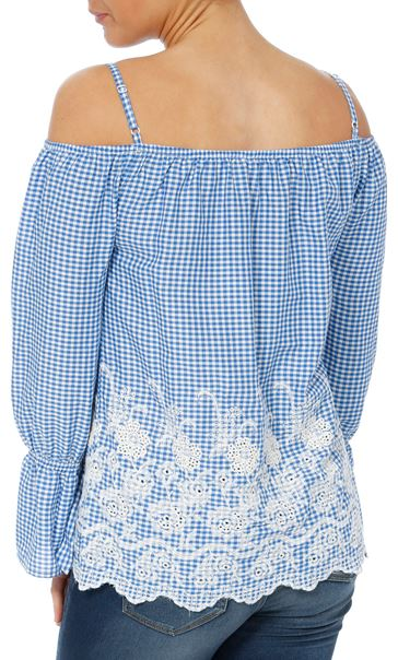 Cold Shoulder Gingham Embroidered Top Blue/White - Gallery Image 2