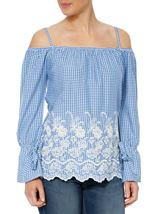 Cold Shoulder Gingham Embroidered Top Blue/White - Gallery Image 1