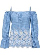 Cold Shoulder Gingham Embroidered Top Blue/White - Gallery Image 3