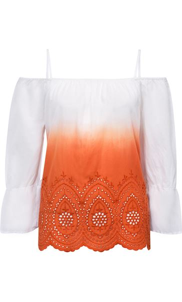 Cold Shoulder Ombre Cotton Top Orange/White