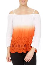 Cold Shoulder Ombre Cotton Top Orange/White - Gallery Image 2