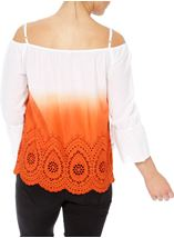 Cold Shoulder Ombre Cotton Top Orange/White - Gallery Image 3