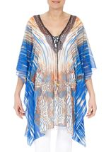 Printed Georgette Cover Up Orange/Blue - Gallery Image 1