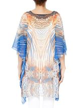 Printed Georgette Cover Up Orange/Blue - Gallery Image 2