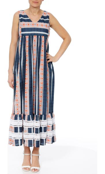 Sleeveless Striped Maxi Dress Dark Blue