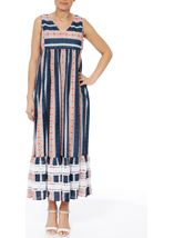 Sleeveless Striped Maxi Dress Dark Blue - Gallery Image 1