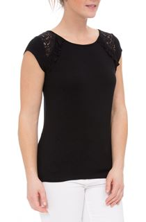 Short Sleeve Lace Trim Jersey Top - Black