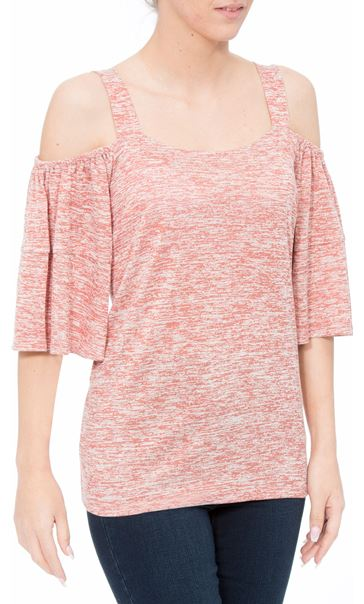 Cold Shoulder Jersey Top Orange Marl