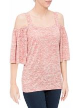 Cold Shoulder Jersey Top Orange Marl - Gallery Image 1