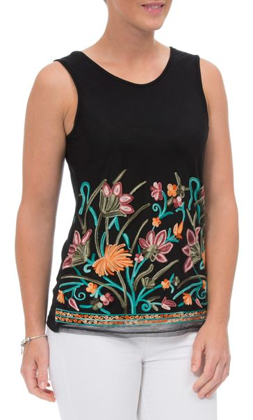 Embroidered Mesh Sleeveless Top Black/Multi