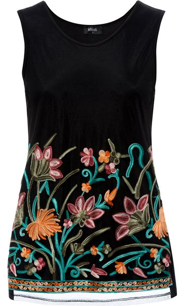 Embroidered Mesh Sleeveless Top Black/Multi - Gallery Image 3