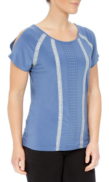 Embellished Split Short Sleeve Top Airforce