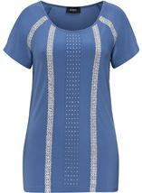 Embellished Split Short Sleeve Top Airforce - Gallery Image 3