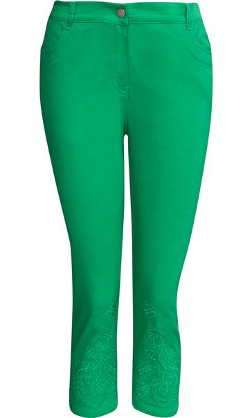 Embroidered Cropped Slim Leg Jeans Emerald