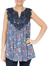 Crochet Trim Sleeveless Top Multi Airforce - Gallery Image 1