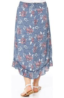 Pull On Floral Print Dip Hem Skirt