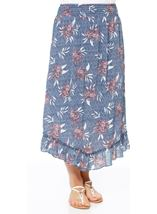 Pull On Floral Print Dip Hem Skirt Multi Airforce - Gallery Image 1